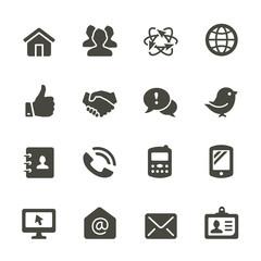 Communication icon set. Rounded corners.