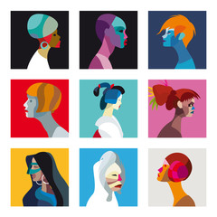 Colorful women avatar set