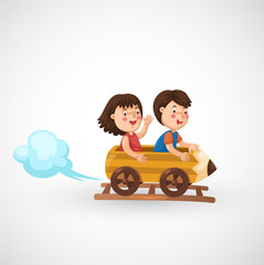 kids riding in the roller coaster vector
