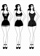 girl in swimsuit retro style