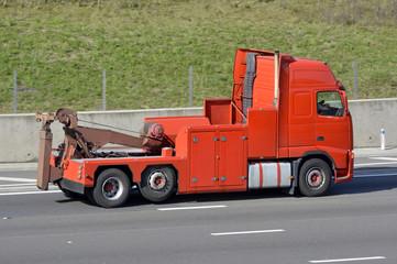 Heavy recovery breakdown tow truck on English mot