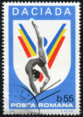 stamp printed by Romania, show Woman Gymnast