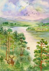 Ilustracja Akwarela, Zwierzęta leśne