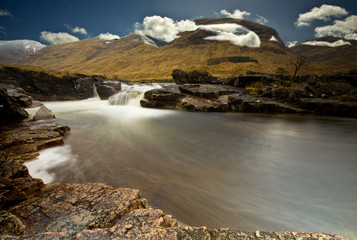 Scottish Highlands Glen Etive river near Beinn Mhic Chasgaig