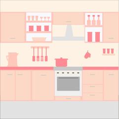 Illustration of kitchen with kitchen furniture