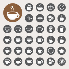 Coffee cup and Tea cup icon set.