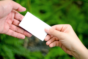 blank white card in hand