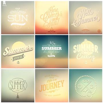 9 retro background for Summer