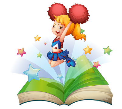 An open book with an image of a dancing cheerleader