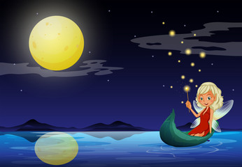 A fairy in a boat holding a wand