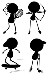 Silhouettes of people playing sports