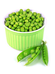 Sweet green peas in bowl isolated on white