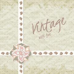 Vintage invitation with flower, template frame design