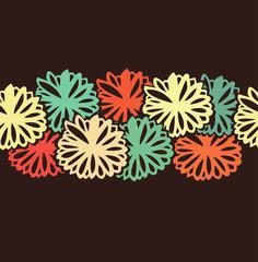 Decorative colorful flowers stripe