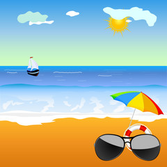 sunglass on the beach vector illustration