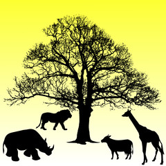 animal under the tree vector