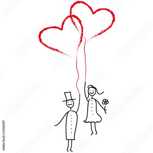 Hochzeitspaar Mit Luftballon Herzen Stockfotos Und Lizenzfreie