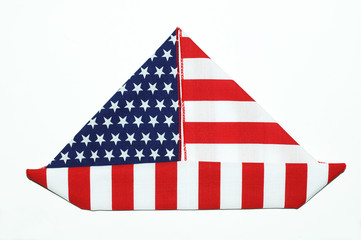 American boat , made form American flag.