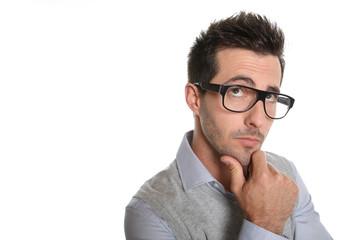 Thoughtful guy with eyeglasses