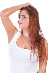 Sexy red hair woman in wet white t shirt