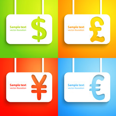 Paper currency signs - dollar, euro, yen and pound