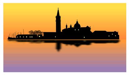 Venezia al tramonto - laguna veneta all'imbrunire