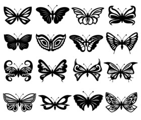 Set Of Black And White Butterflies
