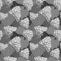 Grapes and Leaves Grayscale