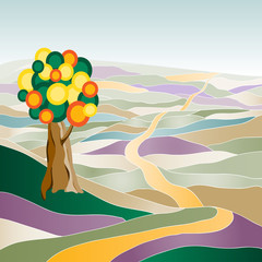 Multicolor summer landscape with tree