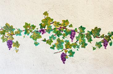vigne peinte sur un mur