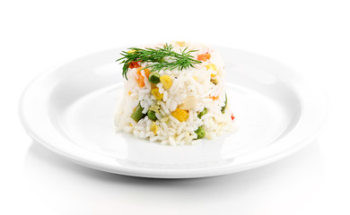 Delicious risotto with vegetables, isolated on white