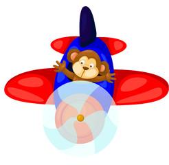 monkey flying airplane