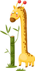 cute giraffe with bamboo