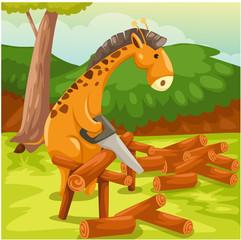 giraffe cutting firewood