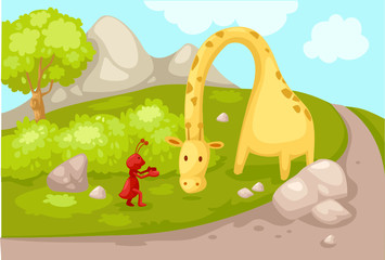landscape cartoon giraffe with ant