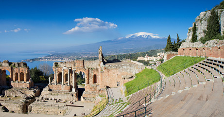 Fototapete - Ruins of the Greek Theater, Taormina