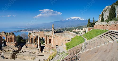 Fototapete Ruins of the Greek Theater, Taormina