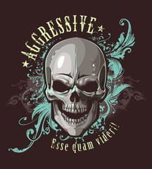 Grunge image with skull