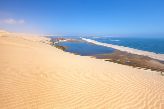 Aerial view on Sandwich harbour in Namibia