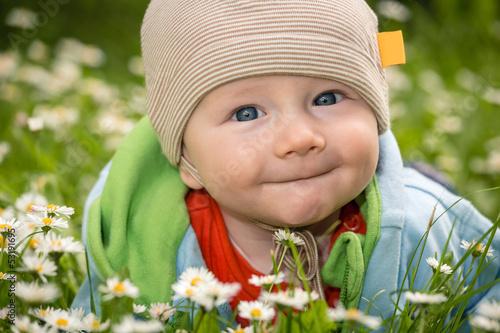 Wall mural Baby auf der Blumenwiese