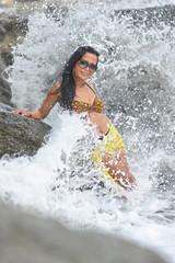 Beautiful Asian brunette in the sea
