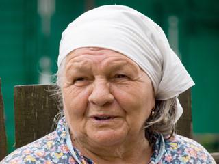 elderly woman, speaking