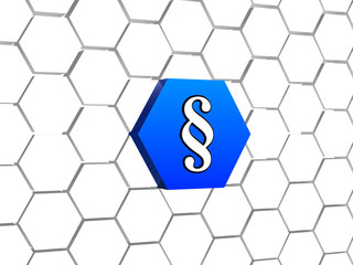paragraph sign in blue hexagon
