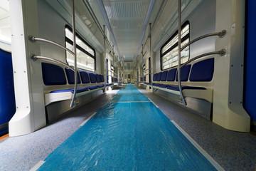 Inside assembled metro coach in shop floor