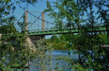 France, the suspension bridge of Triel Sur Seine