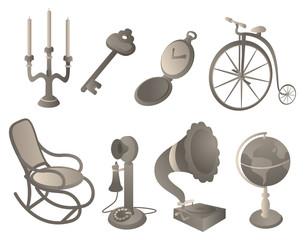 Antique objects set