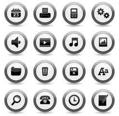 set icônes boutons ronds bureau uni