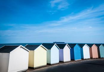 Beach Huts at Felixstowe, Suffolk, UK.