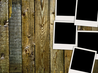 Blank Photos on Vintage Wooden Wall