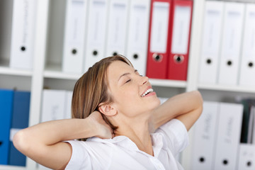 Woman relaxing in the office